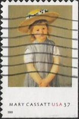 37-cent U.S. postage stamp picturing Mary Cassatt painting of child wearing hat