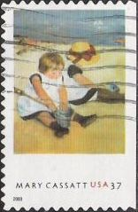 37-cent U.S. postage stamp picturing Mary Cassatt painting of children playing on beach