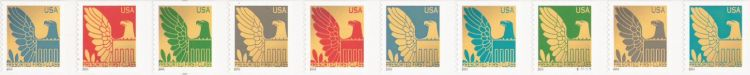 Strip of 10 non-denominated 25-cent U.S. postage stamps picturing eagles
