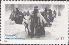 37-cent U.S. postage stamp picturing statues of soldiers