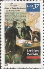 37-cent U.S. postage stamp picturing American and French representatives negotiating Louisiana Purchase