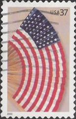 37-cent U.S. postage stamp picturing American flag fan
