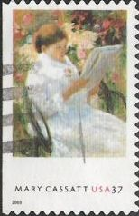 37-cent U.S. postage stamp picturing Mary Cassatt painting of woman reading