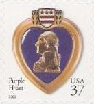 37-cent U.S. postage stamp picturing Purple Heart medal