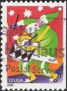 37-cent U.S. postage stamp picturing Santa Claus playing drum