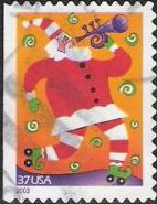 37-cent U.S. postage stamp picturing Santa Claus playing trumpet