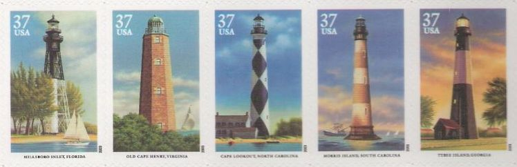 Strip of five 37-cent U.S. postage stamps picturing lighthouses