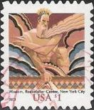 $1 U.S. postage stamp picturing motif of Wisdom at Rockefeller Center in New York City