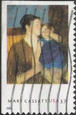 37-cent U.S. postage stamp picturing Mary Cassatt painting of woman and child