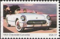 37-cent U.S. postage stamp picturing 1953 Chevrolet Corvette