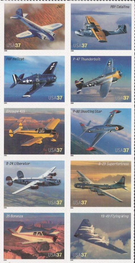 Block of 10 37-cent U.S. postage stamps picturing airplanes