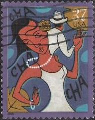 37-cent U.S. postage stamp picturing cha-cha-cha dancers