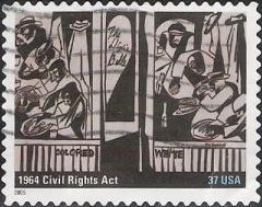 Black & gray 37-cent U.S. postage stamp picturing people inside building
