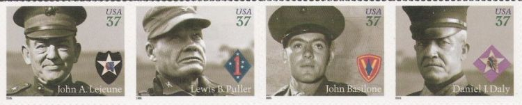 Strip of four 37-cent U.S. postage stamps picturing John A. Lejeune, Lewis B. Puller, John Basilone, and Daniel J. Daly