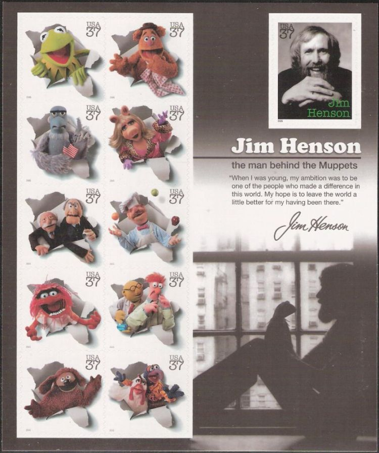 Sheet of 11 37-cent U.S. postage stamps picturing Jim Henson and Muppets