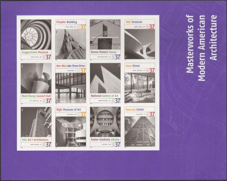 Sheet of 12 37-cent U.S. postage stamps picturing architectural features of buildings