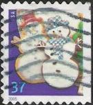 37-cent U.S. postage stamp picturing snowmen cookies