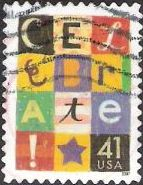 41-cent U.S. postage stamp picturing colored blocks spelling the word 'Celebrate'