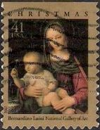 41-cent U.S. postage stamp picturing Luini's Madonna and child painting
