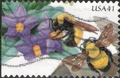 41-cent U.S. postage stamp picturing bumblebees and flowers