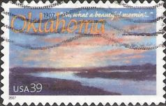 39-cent U.S. postage stamp picturing painting of Cimarron River