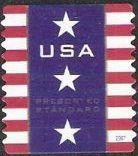 Non-denominated 10-cent U.S. postage stamp picturing stars and stripes