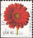 41-cent U.S. postage stamp picturing red gerbera daisy