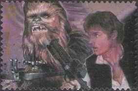 41-cent U.S. postage stamp picturing Han Solo and Chewbacca