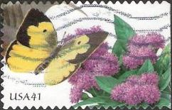 41-cent U.S. postage stamp picturing butterfly and flowers
