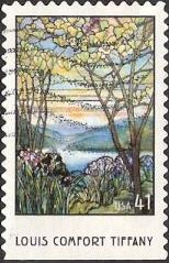41-cent U.S. postage stamp picturing lake scene composed of Tiffany glass