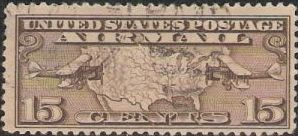 Brown 15-cent U.S. postage stamp picturing map of United States and two airplanes