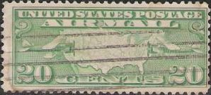 Green 20-cent U.S. postage stamp picturing map of United States and two airplanes