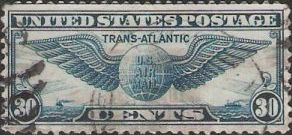 Blue 30-cent U.S. postage stamp picturing winged globe
