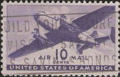 Purple 10-cent U.S. postage stamp picturing airplane