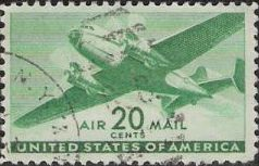 Green 20-cent U.S. postage stamp picturing airplane