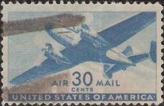 Blue 30-cent U.S. postage stamp picturing airplane