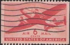 Red 6-cent U.S. postage stamp picturing airplane