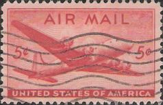 Red 5-cent U.S. postage stamp picturing airplane