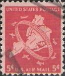 Red 5-cent U.S. postage stamp picturing map of New York City