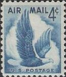 Blue 4-cent U.S. postage stamp picturing eagle