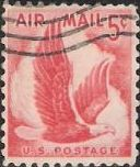 Red 5-cent U.S. postage stamp picturing eagle