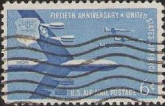 Blue 6-cent U.S. postage stamp picturing military aircraft
