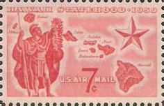 Red 7-cent U.S. postage stamp picturing map of Hawaii