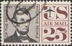 25-cent U.S. postage stamp picturing Abraham Lincoln