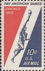 Red & blue 10-cent U.S. postage stamp picturing runner with torch