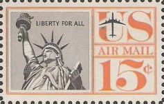 15-cent U.S. postage stamp picturing Statue of Liberty