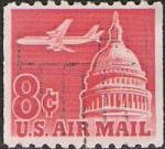 Red 8-cent U.S. postage stamp picturing airplane and U.S. Capitol