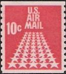 Red 10-cent U.S. postage stamp picturing stars