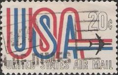 20-cent U.S. postage stamp picturing letters 'USA' and airplane