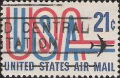 21-cent U.S. postage stamp picturing letters 'USA' and airplane